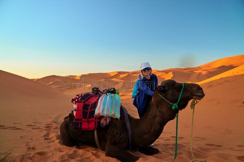 旅游女孩和一头骆驼的画象在撒哈拉大沙漠 免版税库存图片