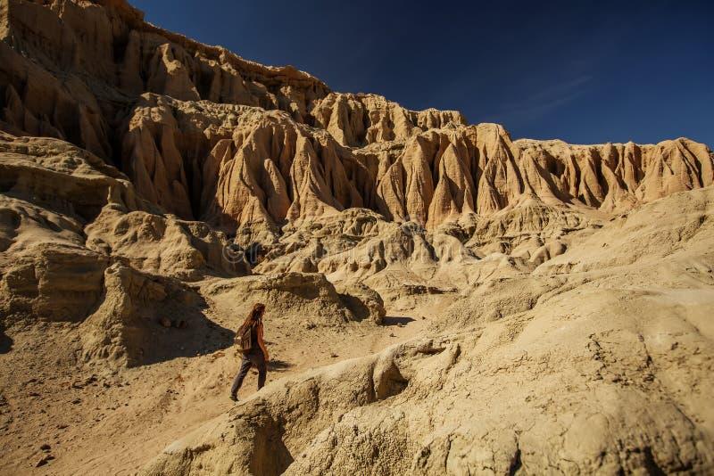 旅游妇女在沙漠 免版税库存图片