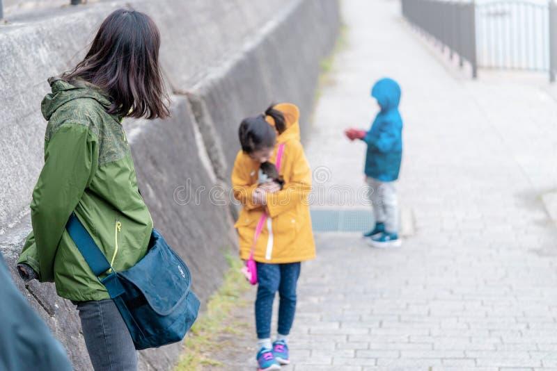 旅游家庭在Kawaguchiko湖走 图库摄影