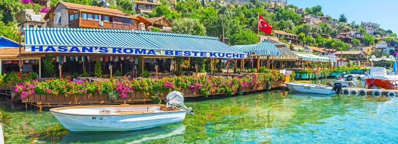 旅游港口的全景, Kalekoy,土耳其 图库摄影