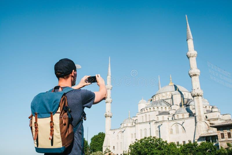旅游照片蓝色清真寺在伊斯坦布尔在土耳其 库存图片