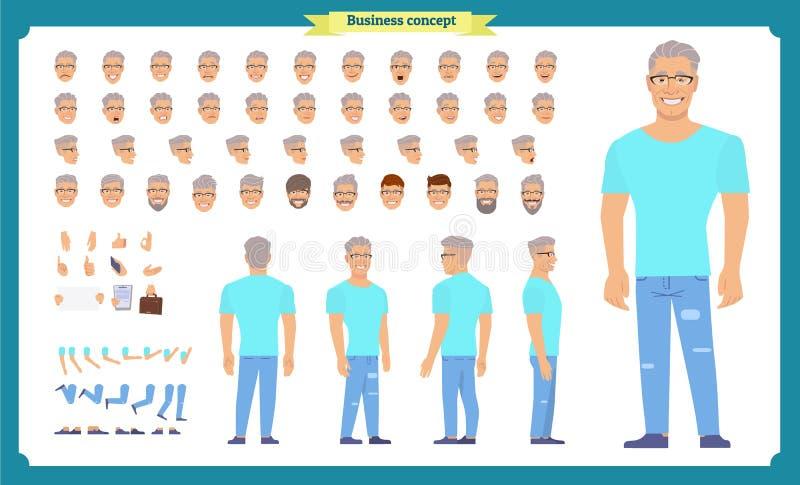 旅游男性,假期旅行家字符创作集合 全长,前面,边,动画片平式infographic传染媒介被隔绝 向量例证