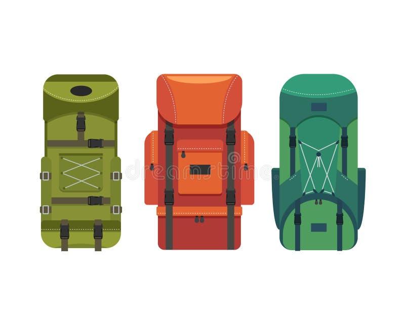 旅游背包 旅客成套装备  远足旅行 库存例证