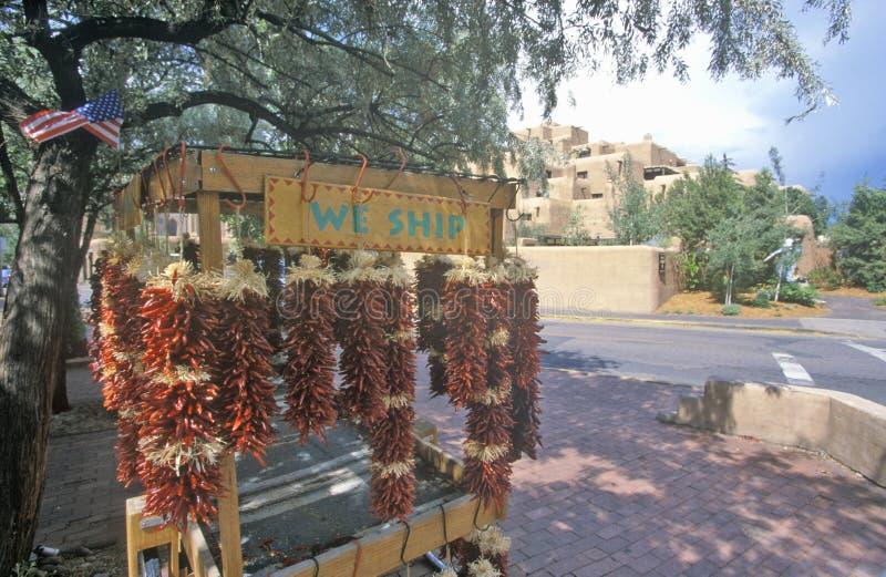 旅游胜地用红色辣椒在镇中心,圣菲, NM 图库摄影
