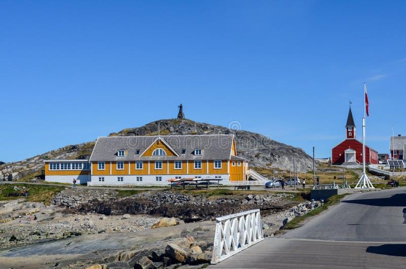 旅游观点的努克,格陵兰的首都 库存图片