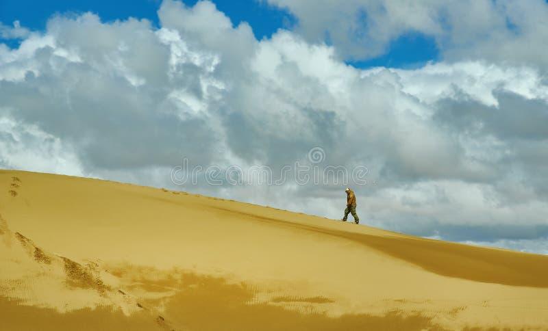 旅游走到沙丘 库存照片