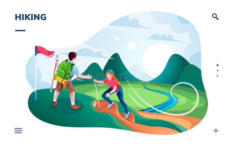 旅游远足在小山或登山家上升 向量例证