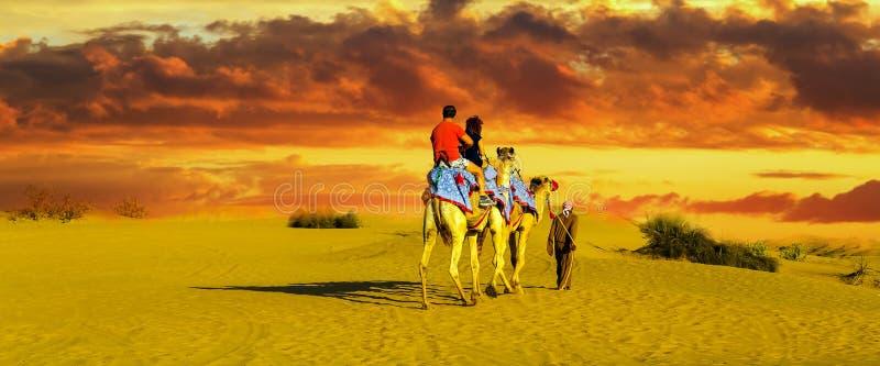 旅游骆驼徒步旅行队风暴在沙漠 免版税库存照片