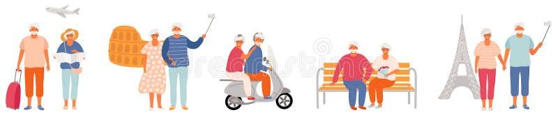 旅行一对年长的夫妇的浪漫套世界 机场,罗马,巴黎,步行在公园和在小型摩托车 皇族释放例证