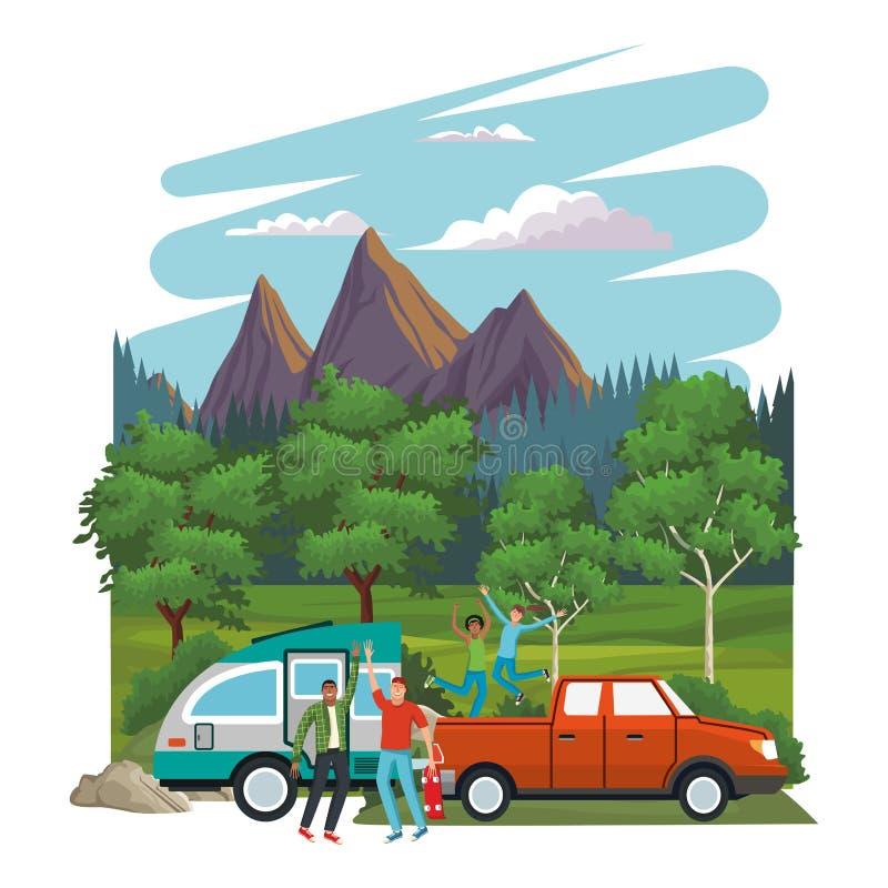 旅行与汽车的年轻朋友 向量例证