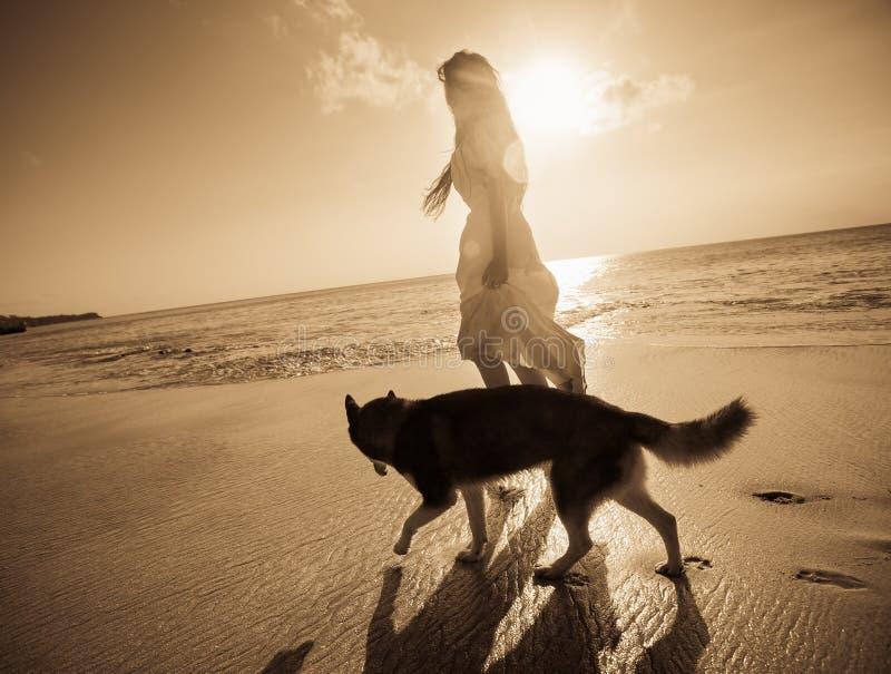 旅行与狗的妇女 免版税库存照片