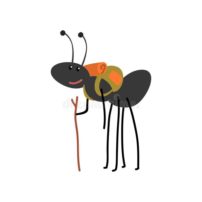 旅行与背包,逗人喜爱的动画片动物的蚂蚁有远足冒险旅行或野营传染媒介例证  库存例证