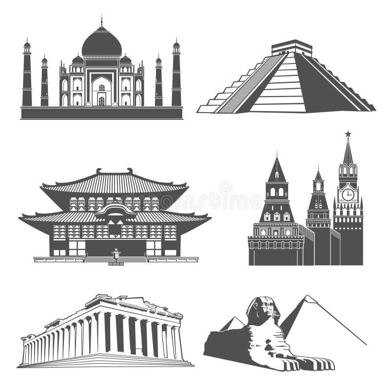 旅行与著名世界纪念碑传染媒介集合的剪影地标 向量例证