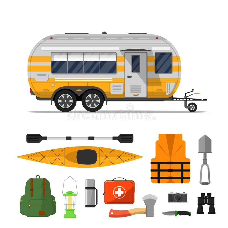 旅行与野营的拖车的生活海报 向量例证