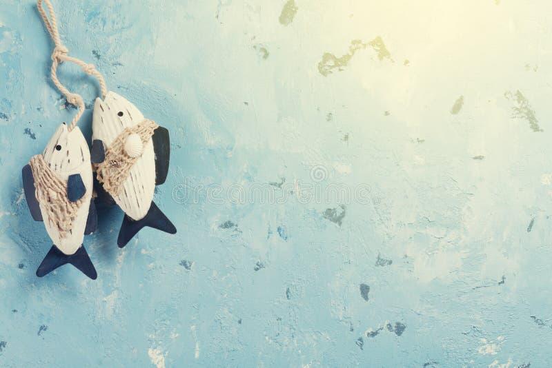 旅行与鱼装饰的假期背景 库存图片