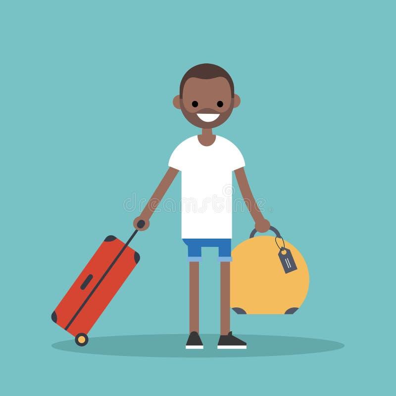 旅行与他的行李的年轻黑人 库存例证