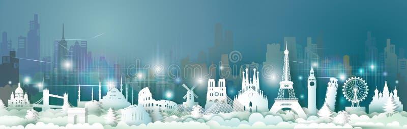 旅行世界欧洲地标与摩天大楼的夜光的 库存例证