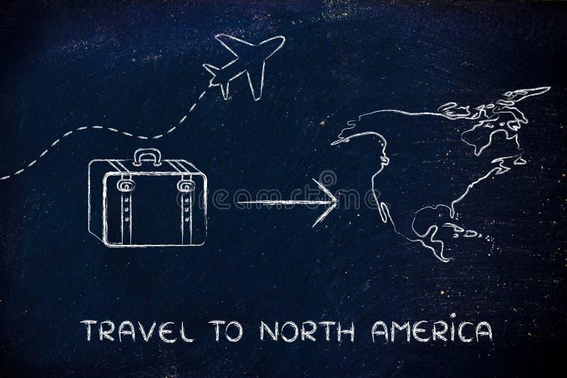 旅行业:去北美的飞机和行李 皇族释放例证
