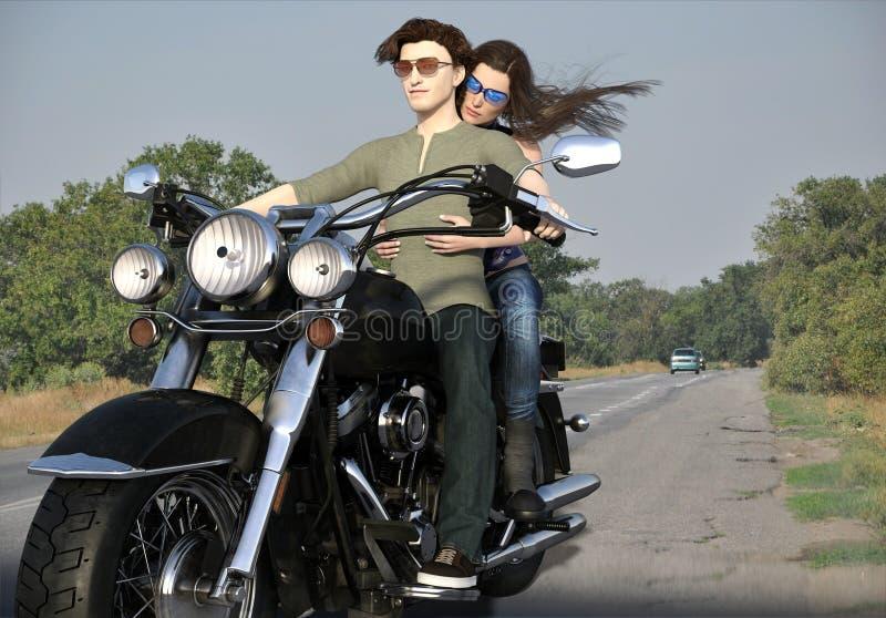 旅行乘摩托车的年轻夫妇 库存例证