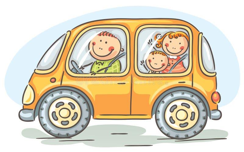 旅行乘汽车的家庭 向量例证