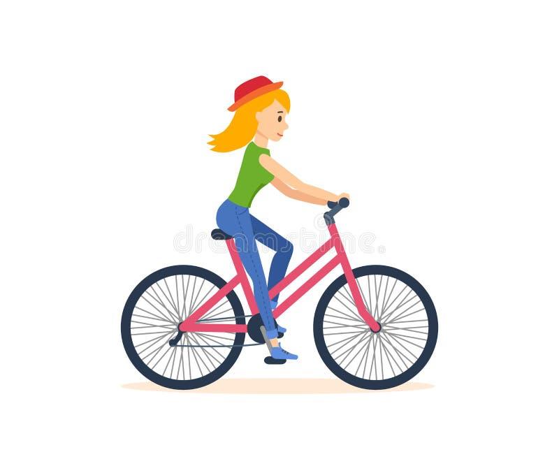旅行乘自行车的女孩,参与室外活动 向量例证