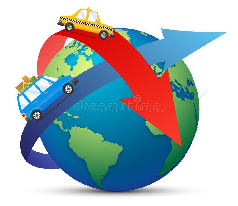 旅行乘飞机 在天空的飞机与太阳、世界地图和云彩 飞行设计模板 纸艺术 向量 皇族释放例证