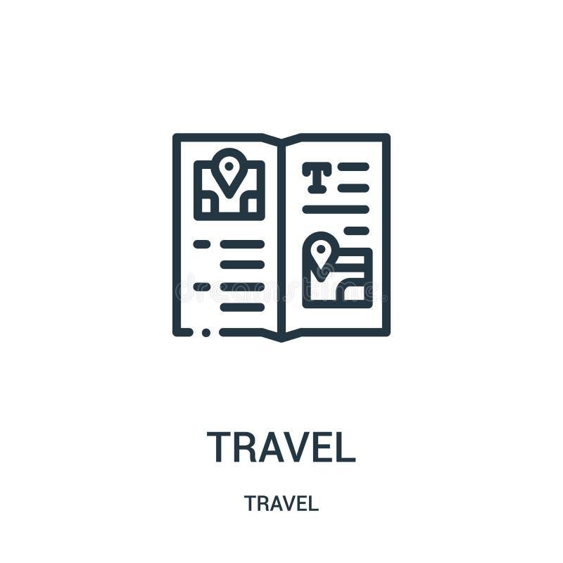 旅行从旅行汇集的象传染媒介 稀薄的线旅行概述象传染媒介例证 线性标志为在网的使用和 库存例证