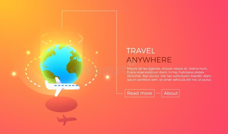 旅行任何地方,假期和旅游业概念假日环球 横幅,背景的等传染媒介例证 皇族释放例证