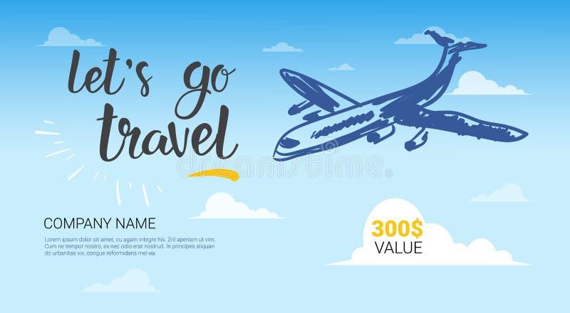 旅行公司模板横幅在天空背景旅行社飞行物的飞机飞行 库存例证