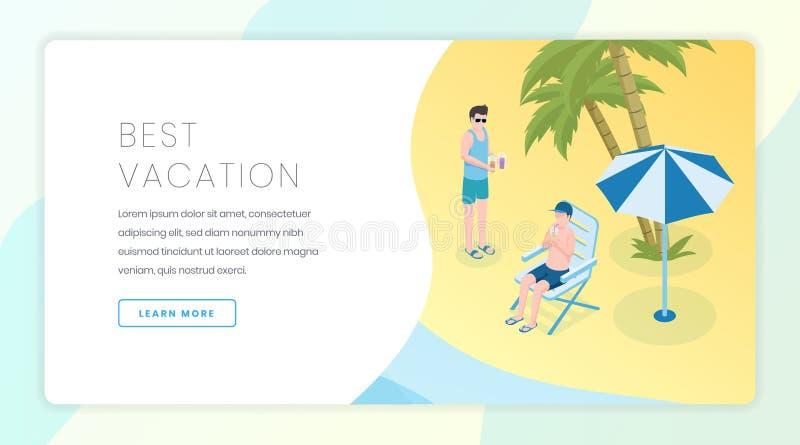 旅行公司登陆的页传染媒介模板 季节性假期,热带休闲网站主页接口想法与 向量例证