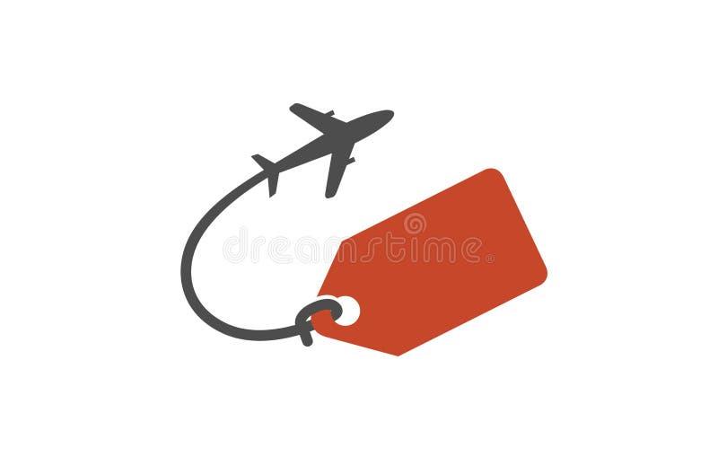旅行创造性的商标的成交标签 库存例证