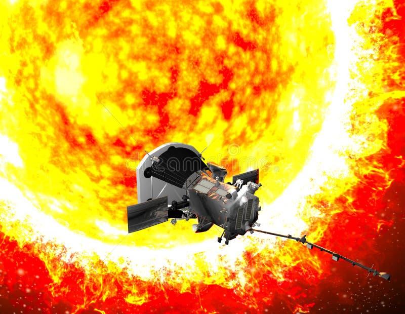 旅行到太阳的帕克太阳探测器 探针的目的将仔细分析太阳和它的太阳风 库存照片