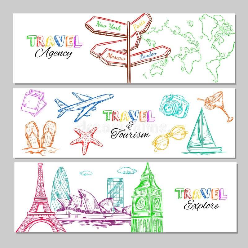 旅行剪影水平的横幅 向量例证