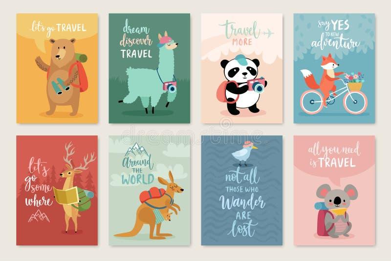 旅行动物卡集,手拉的样式, 库存例证