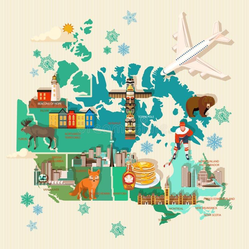 旅行向加拿大 轻的设计 与地图和飞机的加拿大传染媒介例证 减速火箭的样式 旅行明信片 库存例证