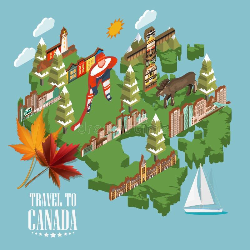 旅行向加拿大 轻的设计 与3d地图的加拿大传染媒介例证 减速火箭的样式 旅行明信片 向量例证