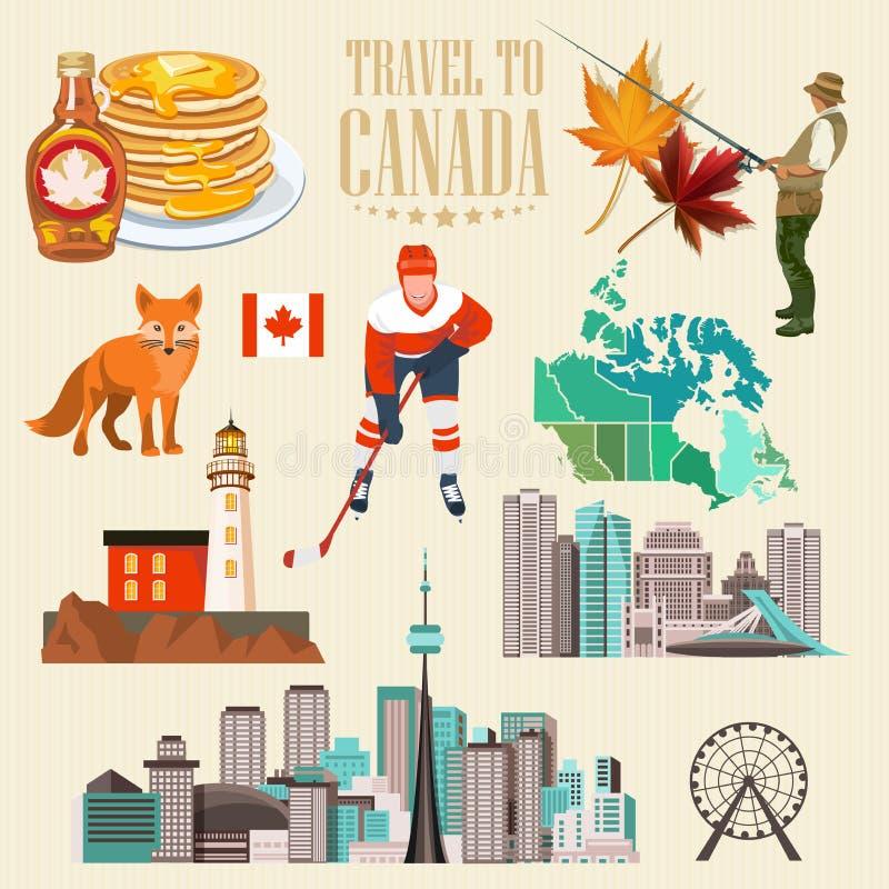 旅行向加拿大 轻的设计 集合 加拿大传染媒介例证 减速火箭的样式 旅行明信片 向量例证