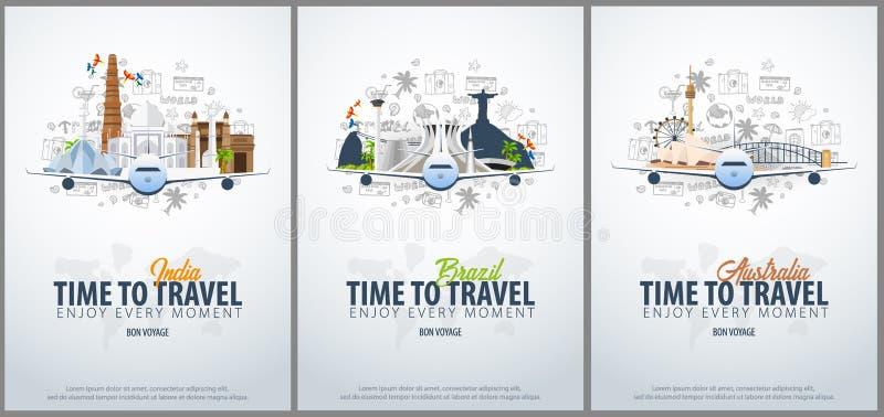旅行向印度、巴西和澳大利亚 时刻旅行 与飞机的横幅和在背景的手凹道乱画 库存例证