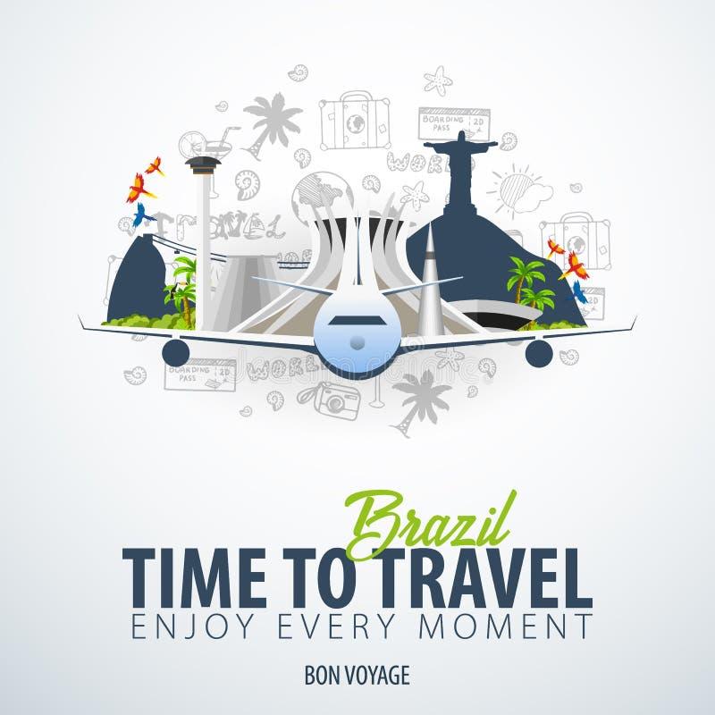 旅行向巴西 时刻旅行 与飞机的横幅和在背景的手凹道乱画 也corel凹道例证向量 库存例证