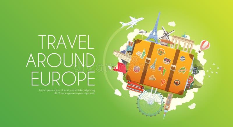 旅行向欧洲 向量例证