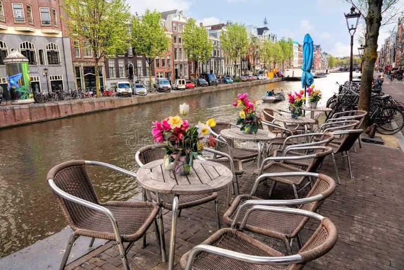 旅行向美丽的荷兰 阿姆斯特丹运河视图 免版税库存照片