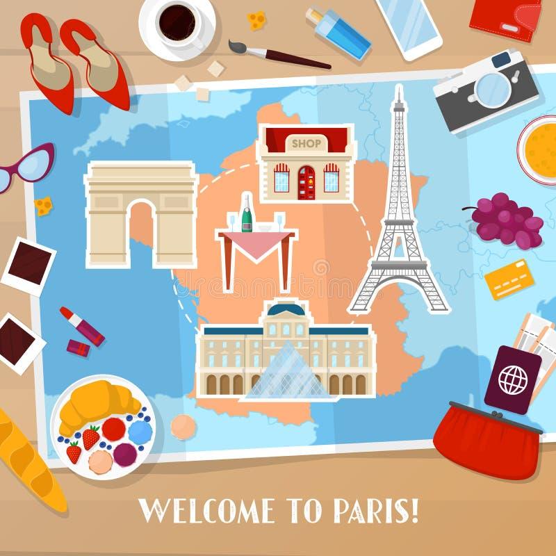 旅行向巴黎法国 与地图、建筑学和旅行的象的旅游业和假期背景 皇族释放例证