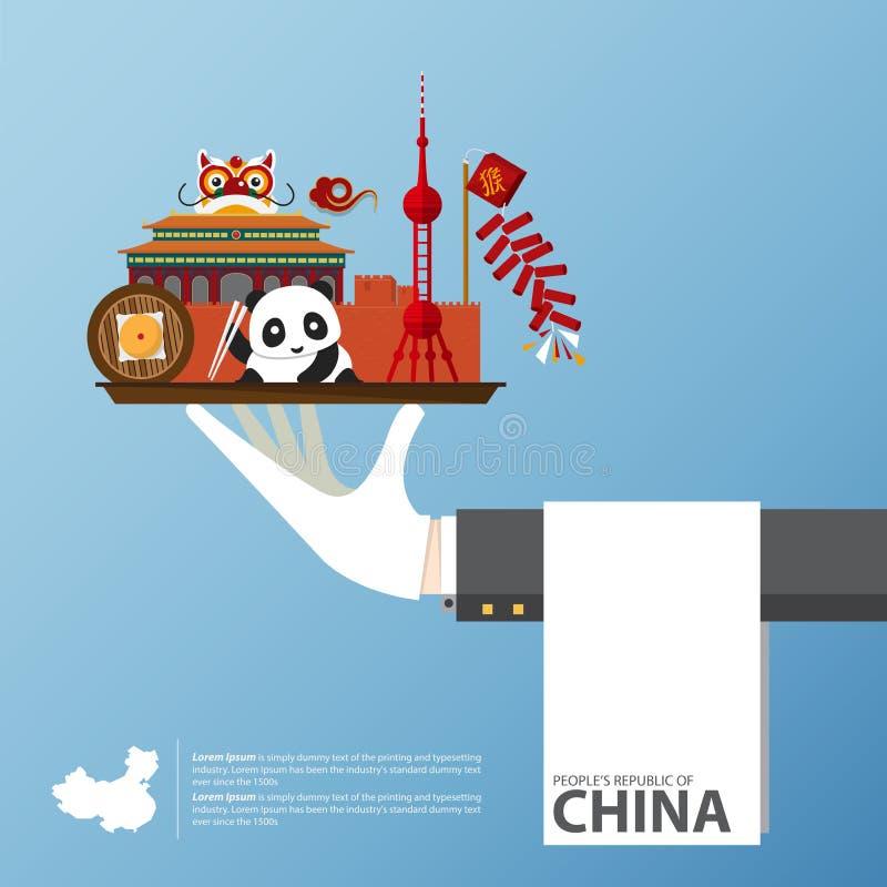 旅行向infographic的中国 套中国建筑学平的象,食物,传统标志 皇族释放例证