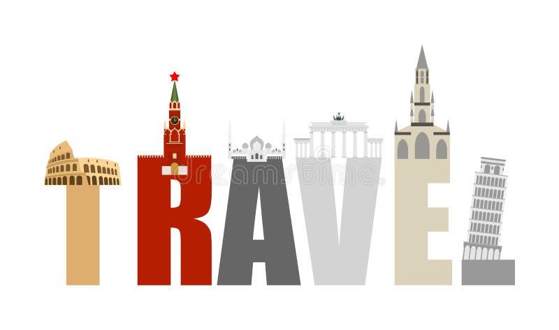 旅行吸引力和信件 各种各样的状态结构和 向量例证