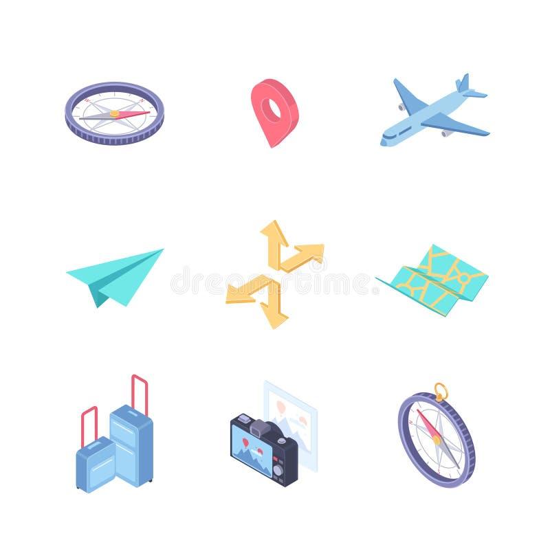 旅行和地点-现代传染媒介五颜六色的等量元素 库存例证