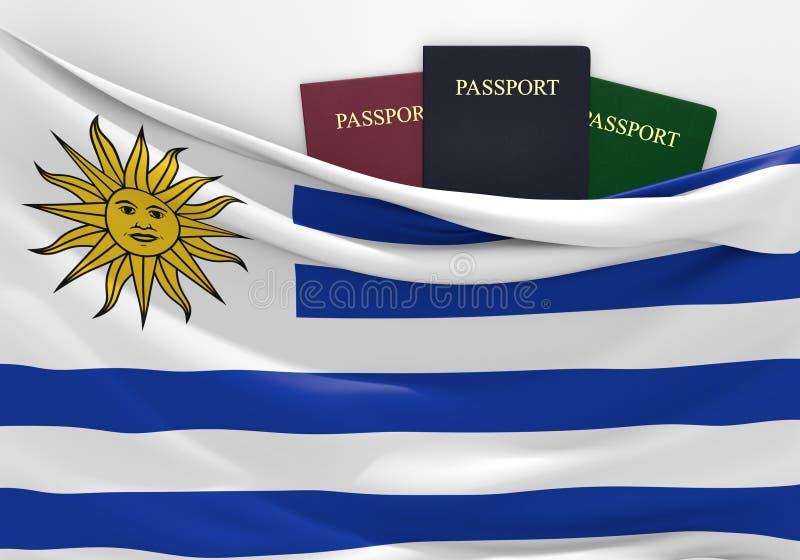 旅行和旅游业在乌拉圭,有被分类的护照的 向量例证