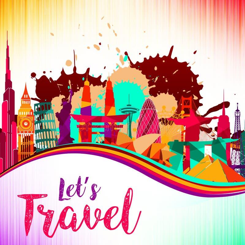 旅行和旅游业在地平线背景飞溅油漆紫罗兰色和黄色,红色,美好的五颜六色的建筑学 皇族释放例证