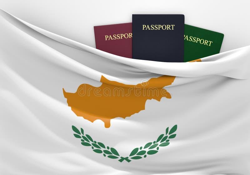 旅行和旅游业在塞浦路斯,有被分类的护照的 库存例证