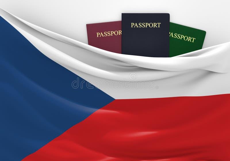 旅行和旅游业在捷克,有被分类的护照的 库存例证