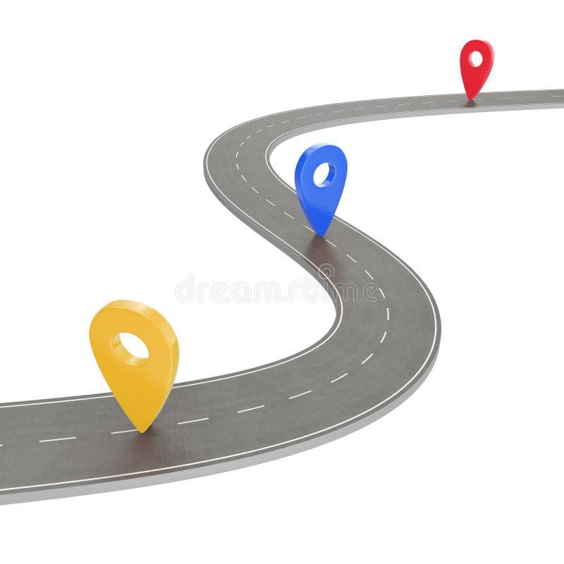 旅行和旅途路线 在白色背景的弯曲道路与Pin尖 路线地点infographic模板 库存例证